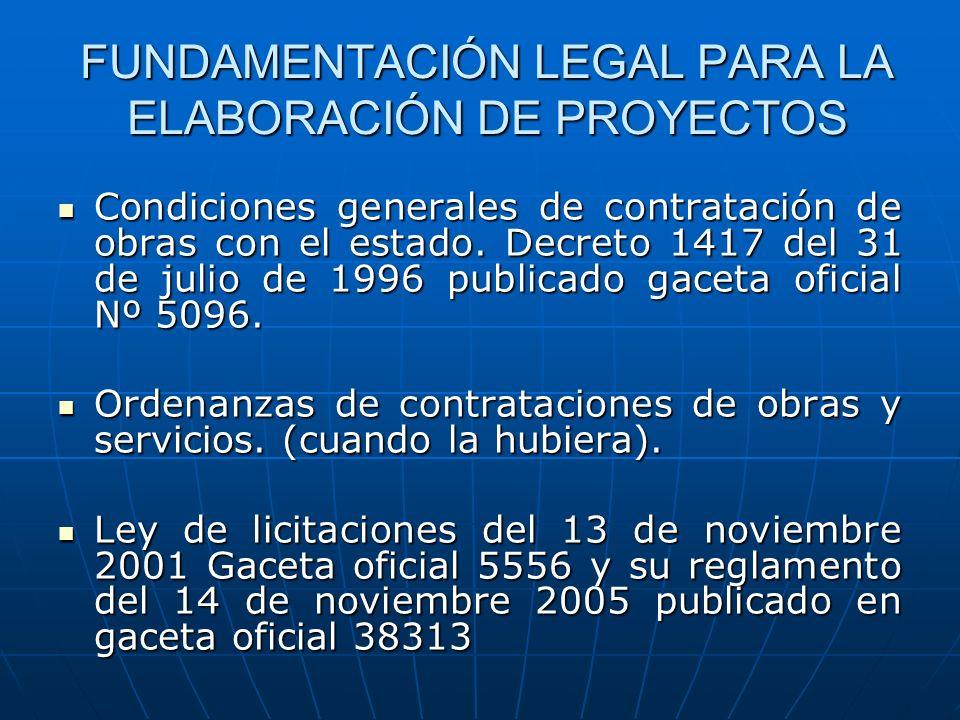 FUNDAMENTACIÓN LEGAL PARA LA ELABORACIÓN DE PROYECTOS