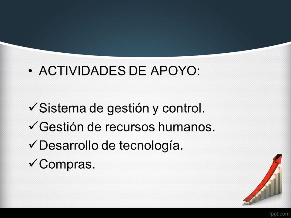 ACTIVIDADES DE APOYO: Sistema de gestión y control. Gestión de recursos humanos. Desarrollo de tecnología.