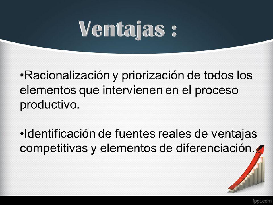 Ventajas : Racionalización y priorización de todos los elementos que intervienen en el proceso productivo.