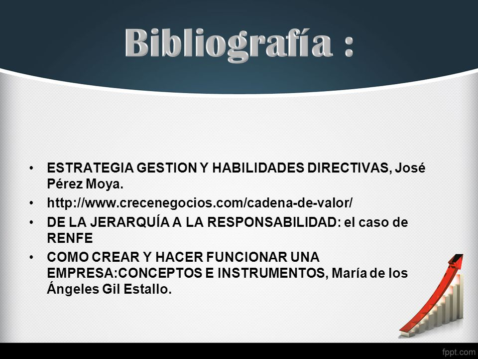 Bibliografía : ESTRATEGIA GESTION Y HABILIDADES DIRECTIVAS, José Pérez Moya. http://www.crecenegocios.com/cadena-de-valor/