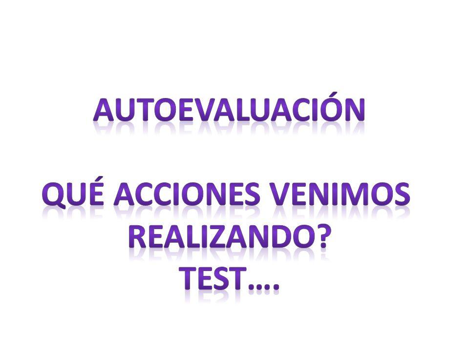 AUTOEVALUACIÓN Qué acciones venimos realizando Test….