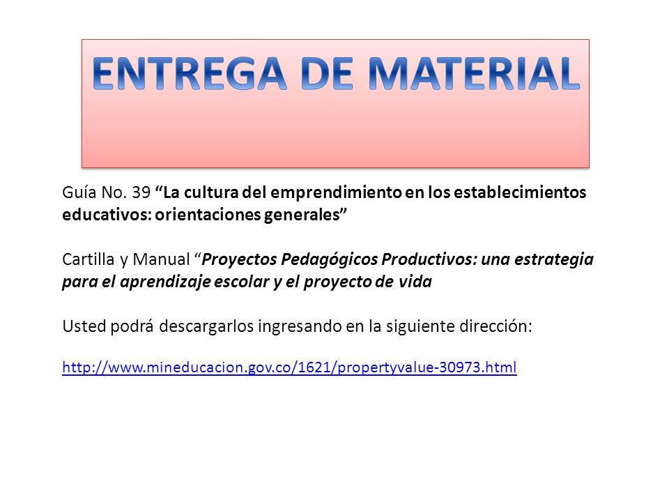 ENTREGA DE MATERIAL Guía No. 39 La cultura del emprendimiento en los establecimientos educativos: orientaciones generales