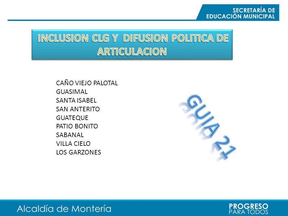 INCLUSION CLG Y DIFUSION POLITICA DE ARTICULACION