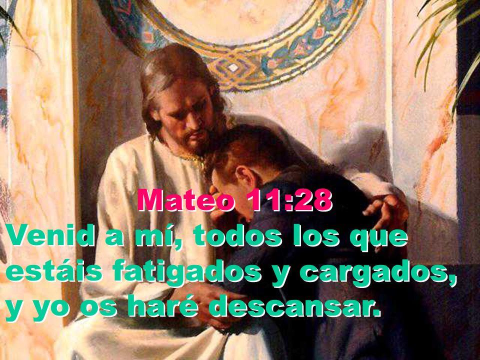 Mateo 11:28 Venid a mí, todos los que estáis fatigados y cargados, y yo os haré descansar.
