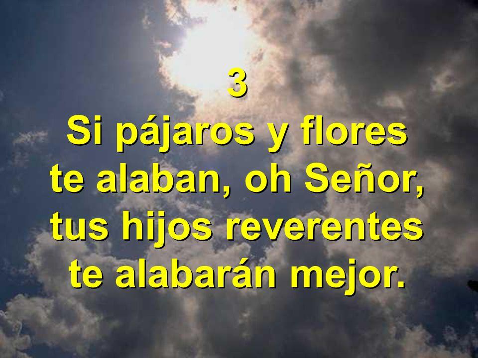 3 Si pájaros y flores te alaban, oh Señor, tus hijos reverentes te alabarán mejor.