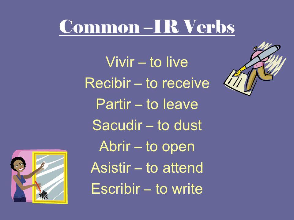 Common –IR Verbs Vivir – to live Recibir – to receive