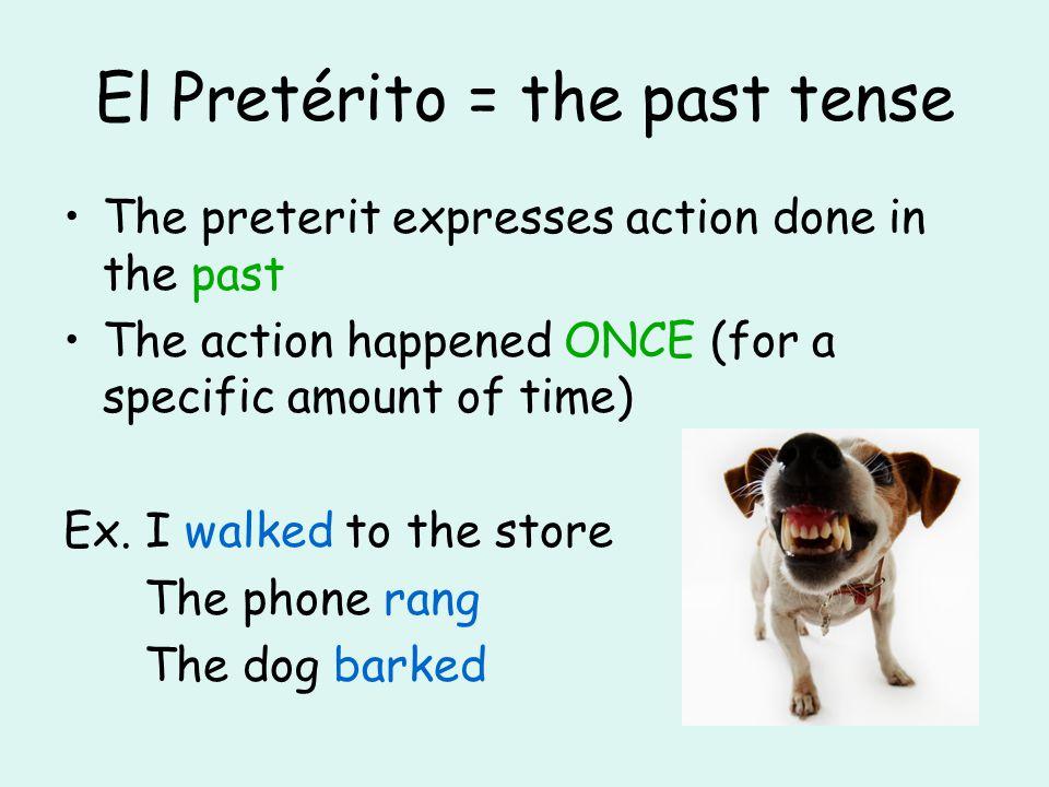 El Pretérito = the past tense