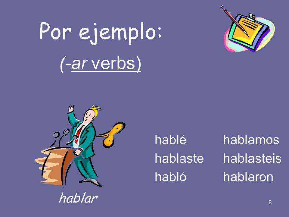 Por ejemplo: (-ar verbs) hablar hablé hablaste habló hablamos