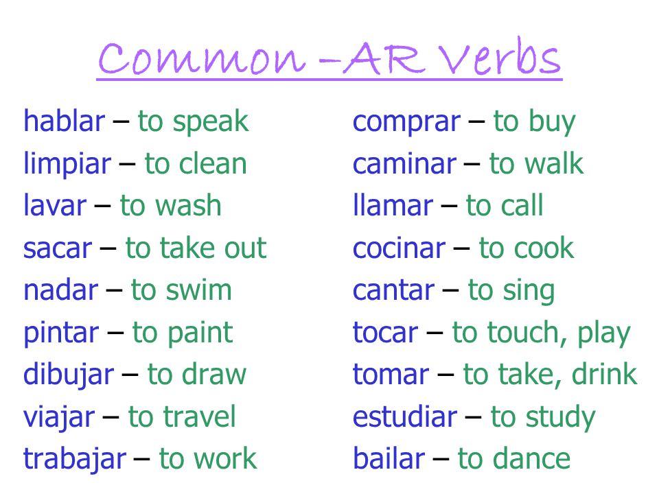 Common –AR Verbs hablar – to speak comprar – to buy