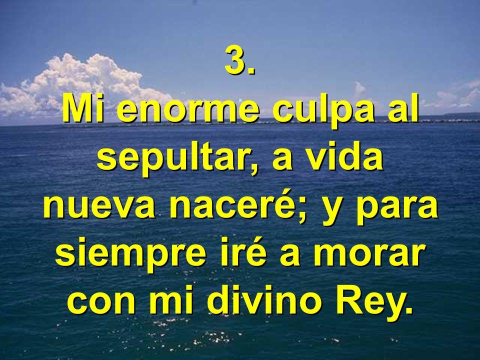 3. Mi enorme culpa al sepultar, a vida nueva naceré; y para siempre iré a morar con mi divino Rey.