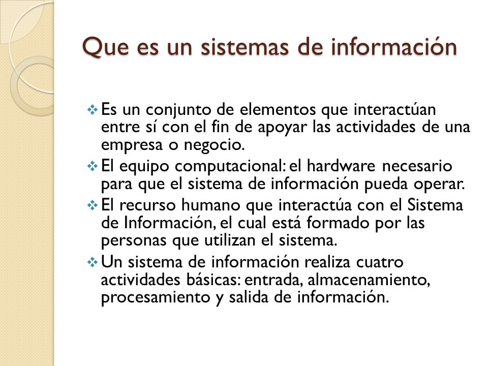 Que es un sistemas de información