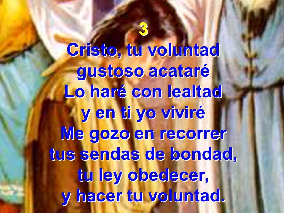 3 Cristo, tu voluntad. gustoso acataré. Lo haré con lealtad. y en ti yo viviré. Me gozo en recorrer.