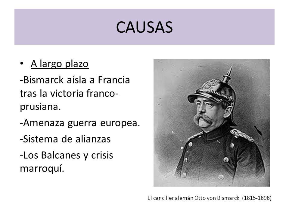 CAUSAS A largo plazo. -Bismarck aísla a Francia tras la victoria franco-prusiana. -Amenaza guerra europea.