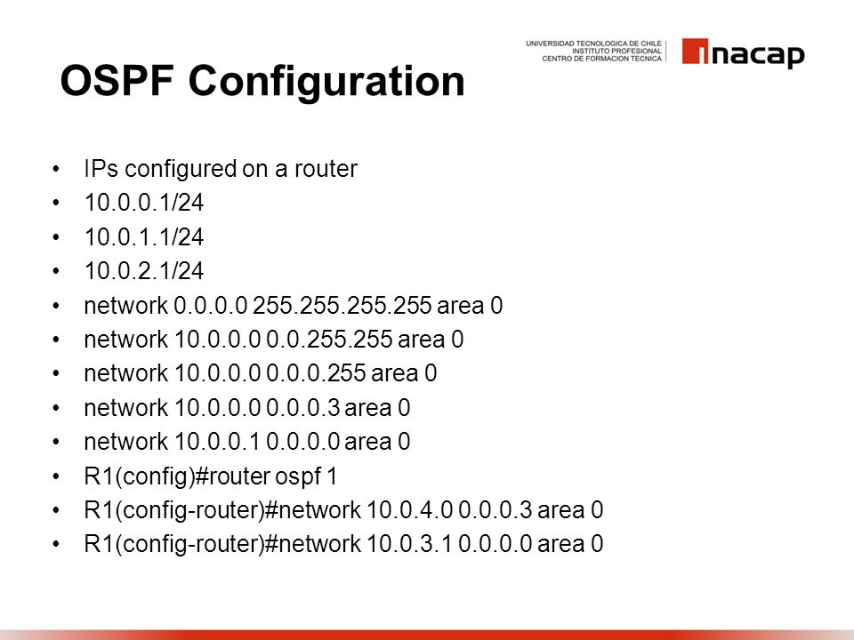 OSPF Configuration IPs configured on a router 10.0.0.1/24 10.0.1.1/24