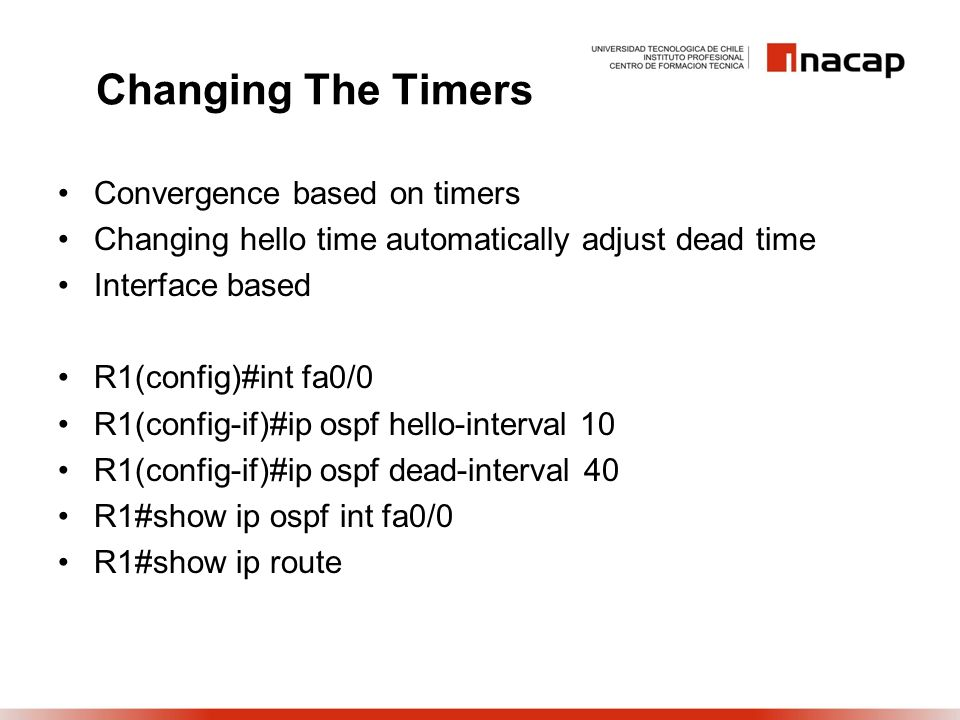 Changing The Timers Convergence based on timers