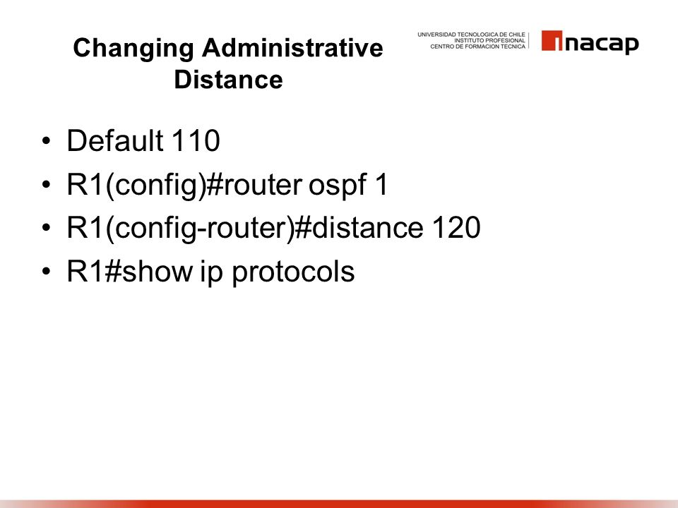 Changing Administrative Distance