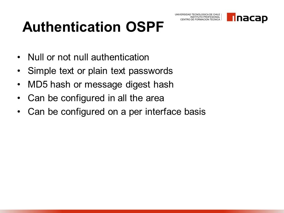 Authentication OSPF Null or not null authentication