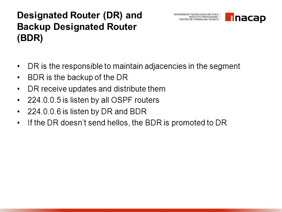 Designated Router (DR) and Backup Designated Router (BDR)
