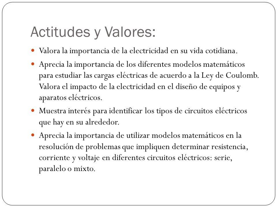 Actitudes y Valores: Valora la importancia de la electricidad en su vida cotidiana.
