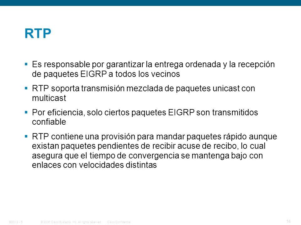 RTP Es responsable por garantizar la entrega ordenada y la recepción de paquetes EIGRP a todos los vecinos.