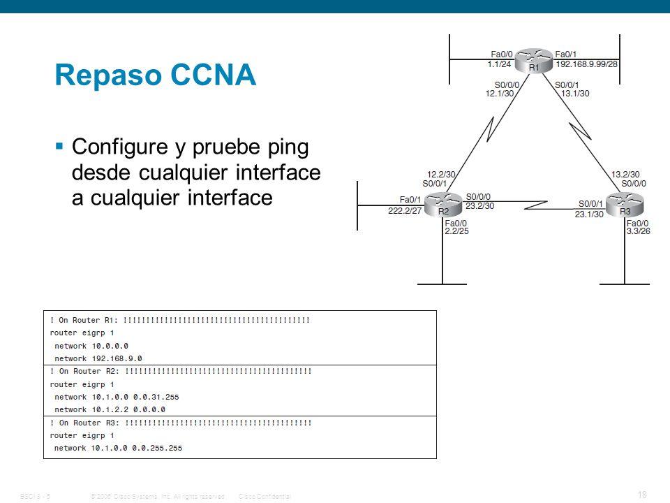 Repaso CCNA Configure y pruebe ping desde cualquier interface a cualquier interface