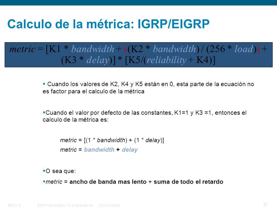 Calculo de la métrica: IGRP/EIGRP