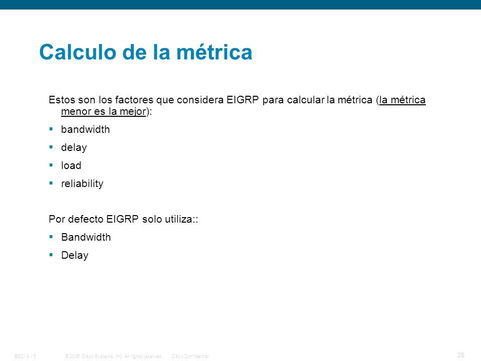 Calculo de la métrica Estos son los factores que considera EIGRP para calcular la métrica (la métrica menor es la mejor):