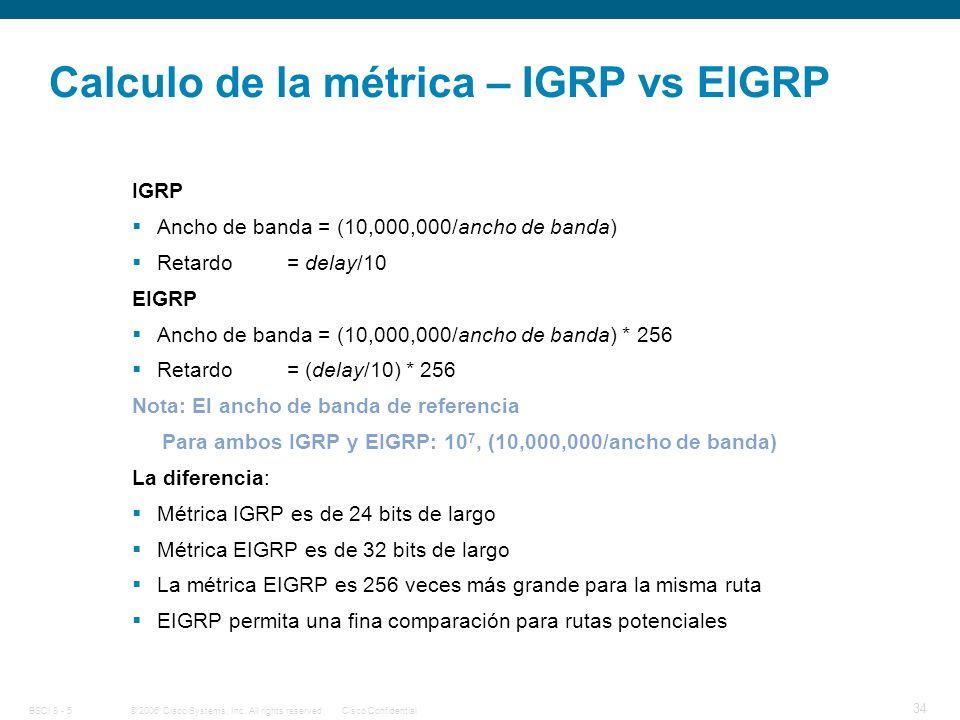 Calculo de la métrica – IGRP vs EIGRP