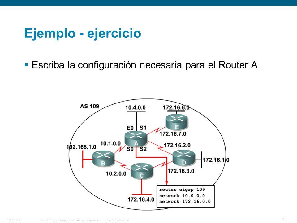 Ejemplo - ejercicio Escriba la configuración necesaria para el Router A