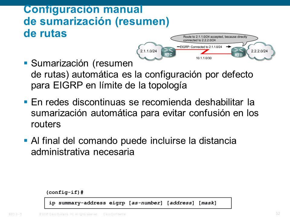 Configuración manual de sumarización (resumen) de rutas