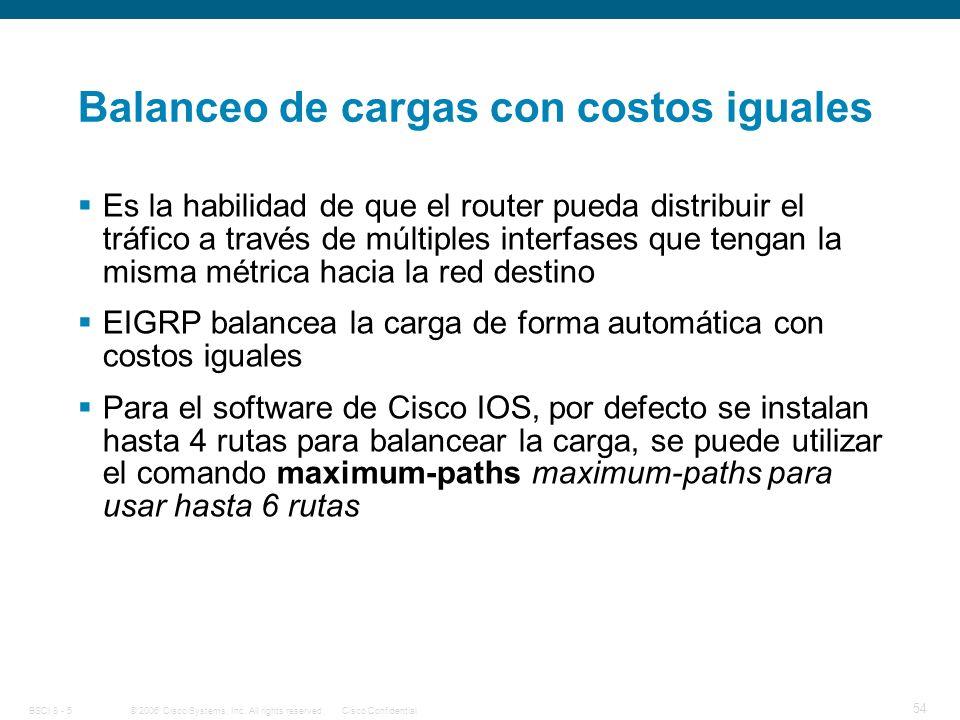 Balanceo de cargas con costos iguales