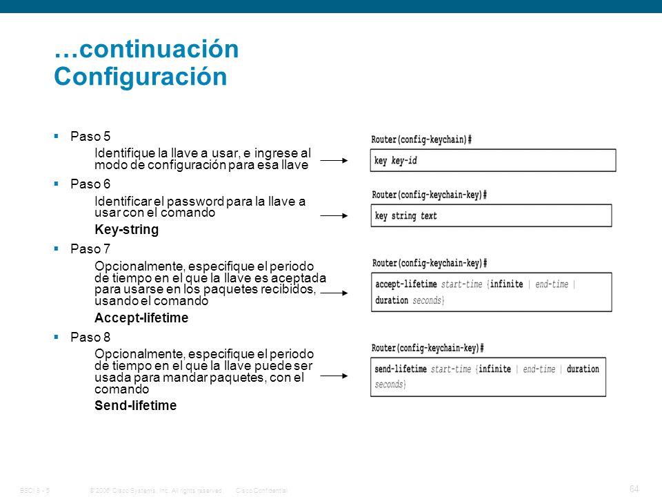 …continuación Configuración