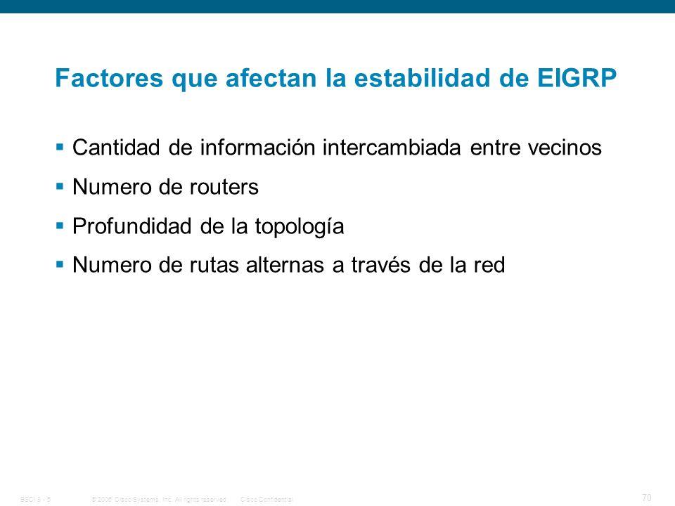 Factores que afectan la estabilidad de EIGRP