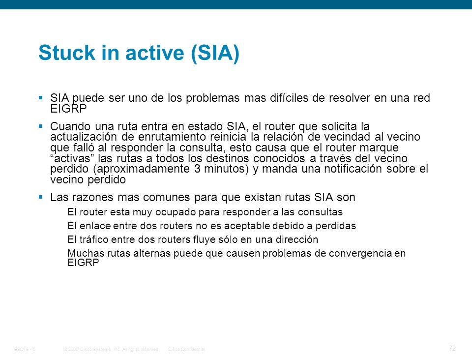 Stuck in active (SIA) SIA puede ser uno de los problemas mas difíciles de resolver en una red EIGRP.
