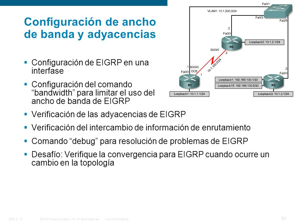 Configuración de ancho de banda y adyacencias