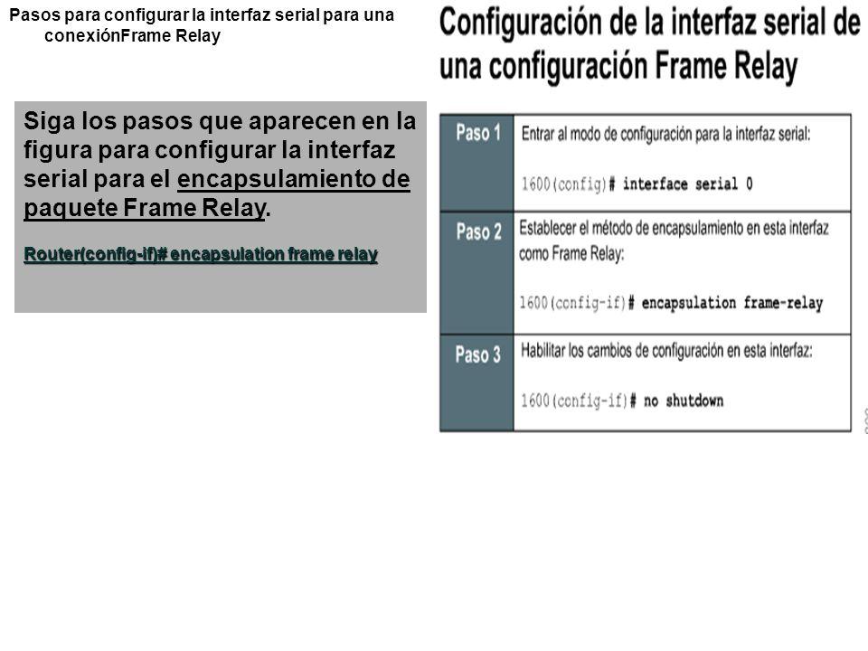 Pasos para configurar la interfaz serial para una conexiónFrame Relay