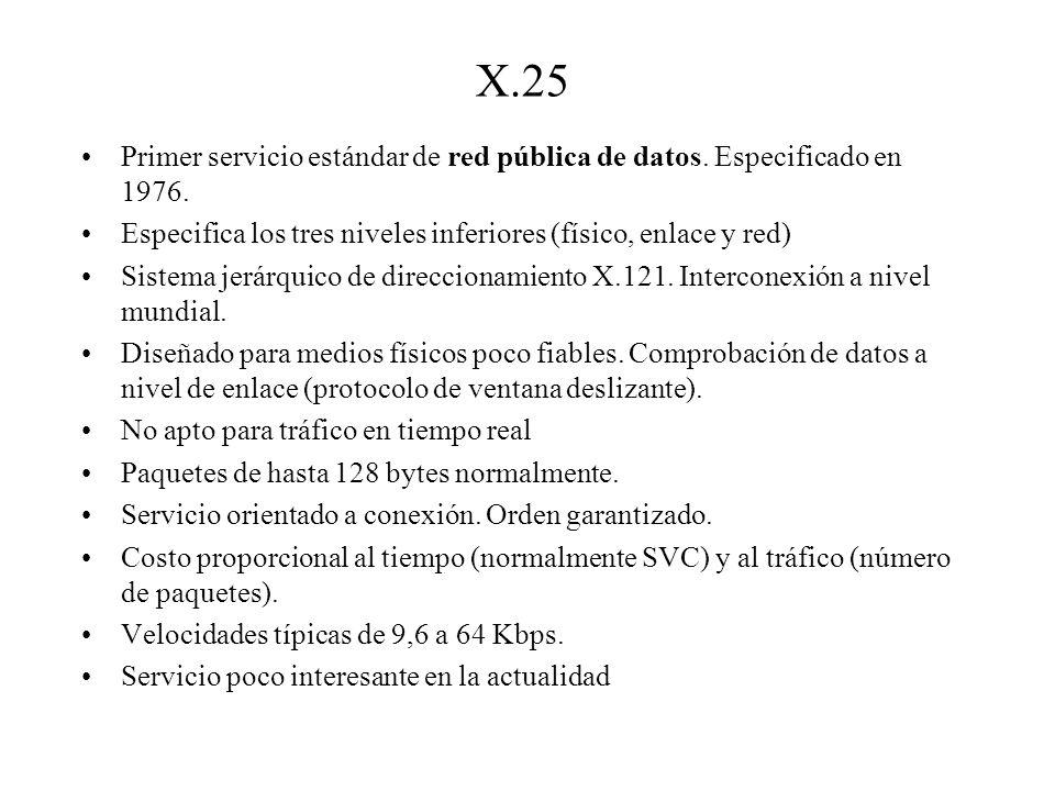 X.25 Primer servicio estándar de red pública de datos. Especificado en 1976. Especifica los tres niveles inferiores (físico, enlace y red)