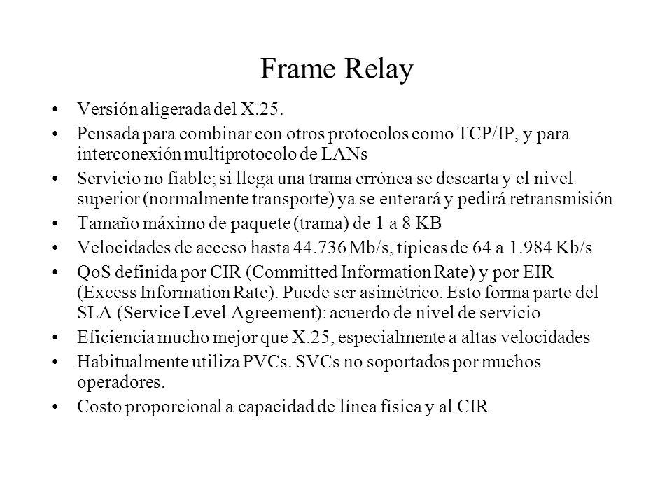 Frame Relay Versión aligerada del X.25.