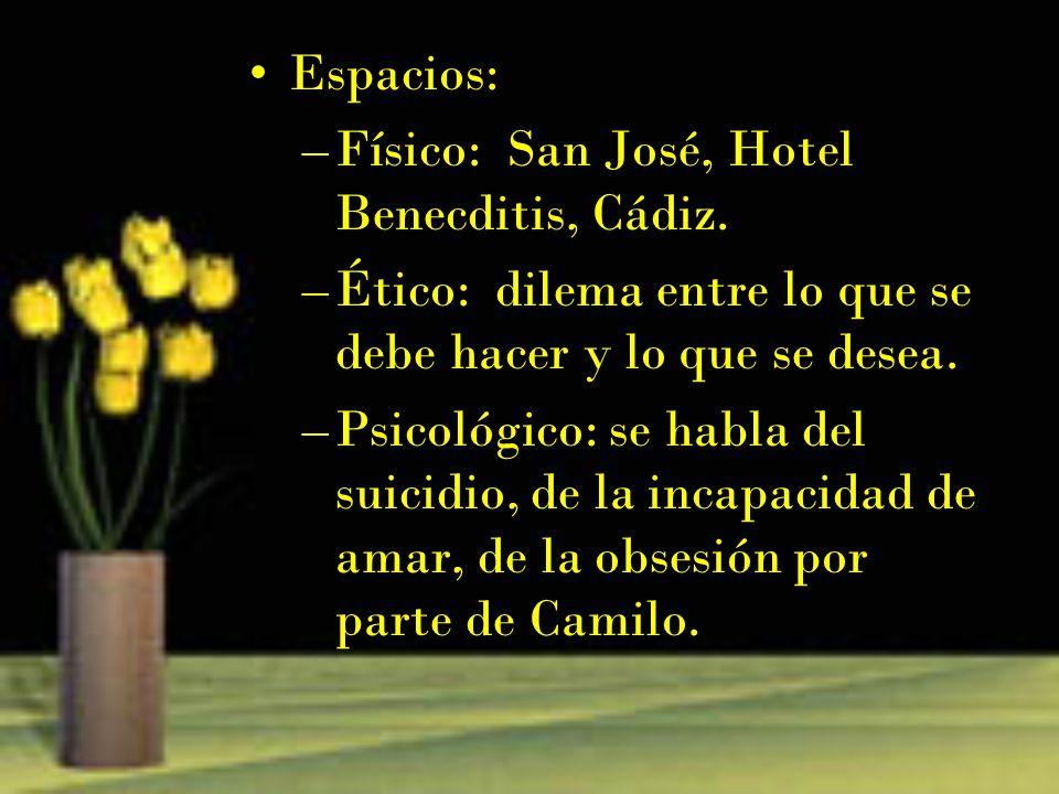 Espacios: Físico: San José, Hotel Benecditis, Cádiz. Ético: dilema entre lo que se debe hacer y lo que se desea.