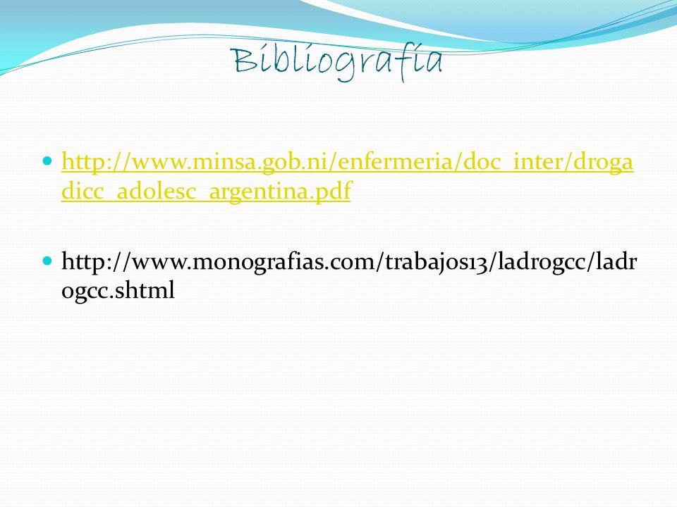 Bibliografía http://www.minsa.gob.ni/enfermeria/doc_inter/drogadicc_adolesc_argentina.pdf.
