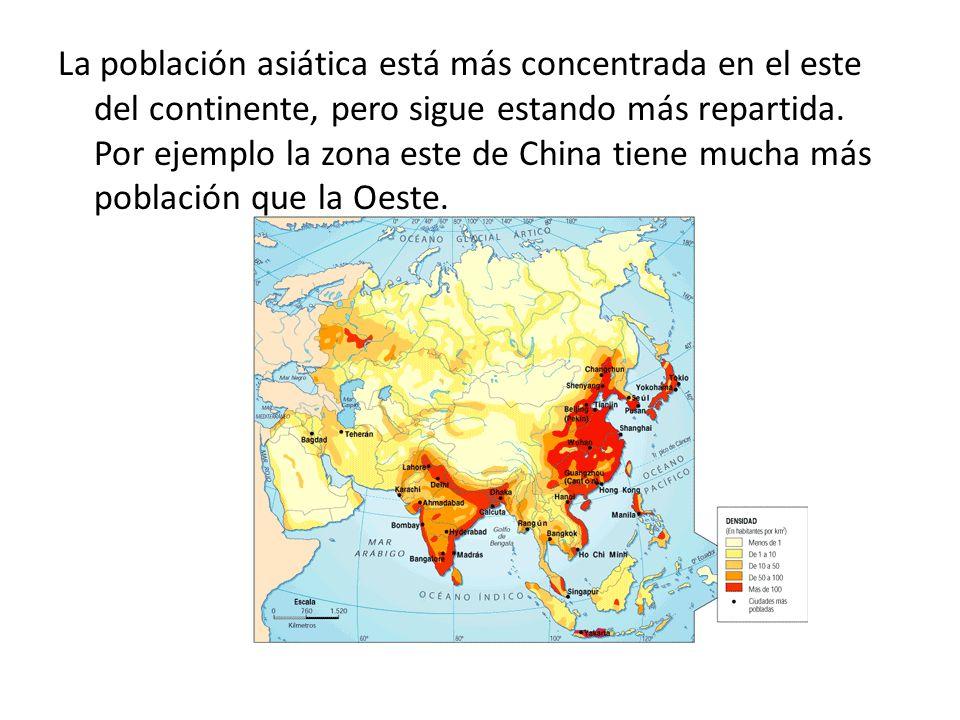 La población asiática está más concentrada en el este del continente, pero sigue estando más repartida.