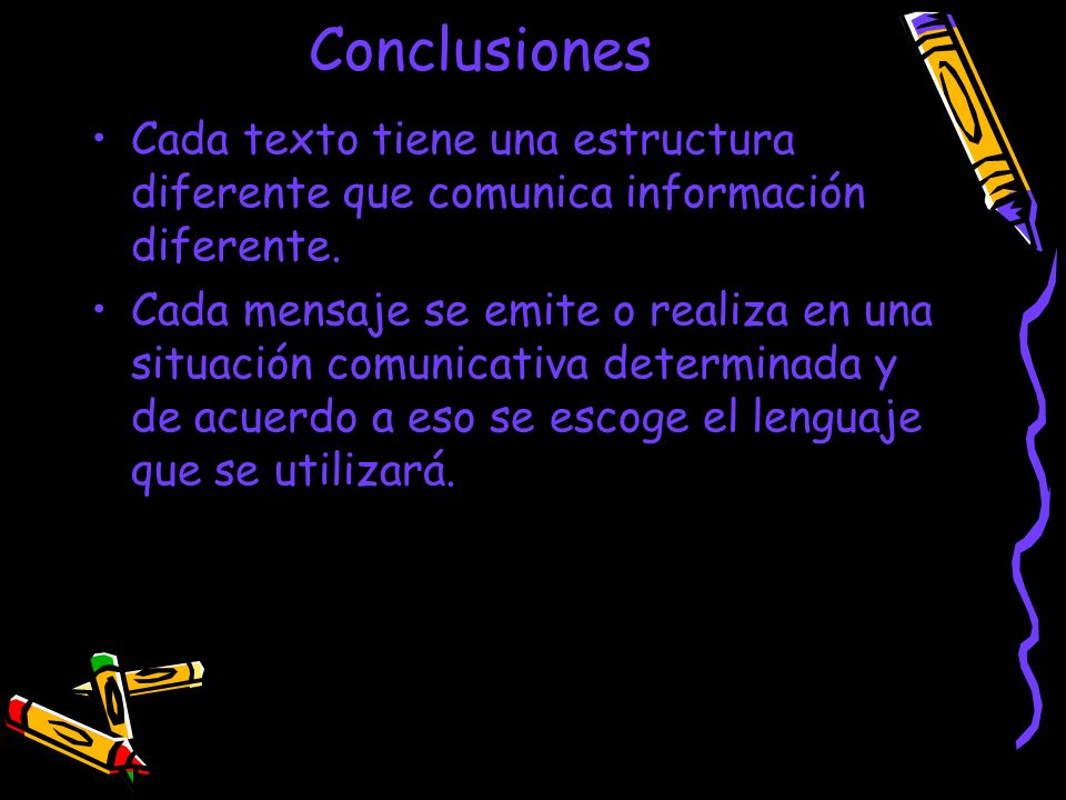 Conclusiones Cada texto tiene una estructura diferente que comunica información diferente.