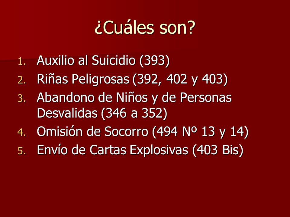 ¿Cuáles son Auxilio al Suicidio (393)