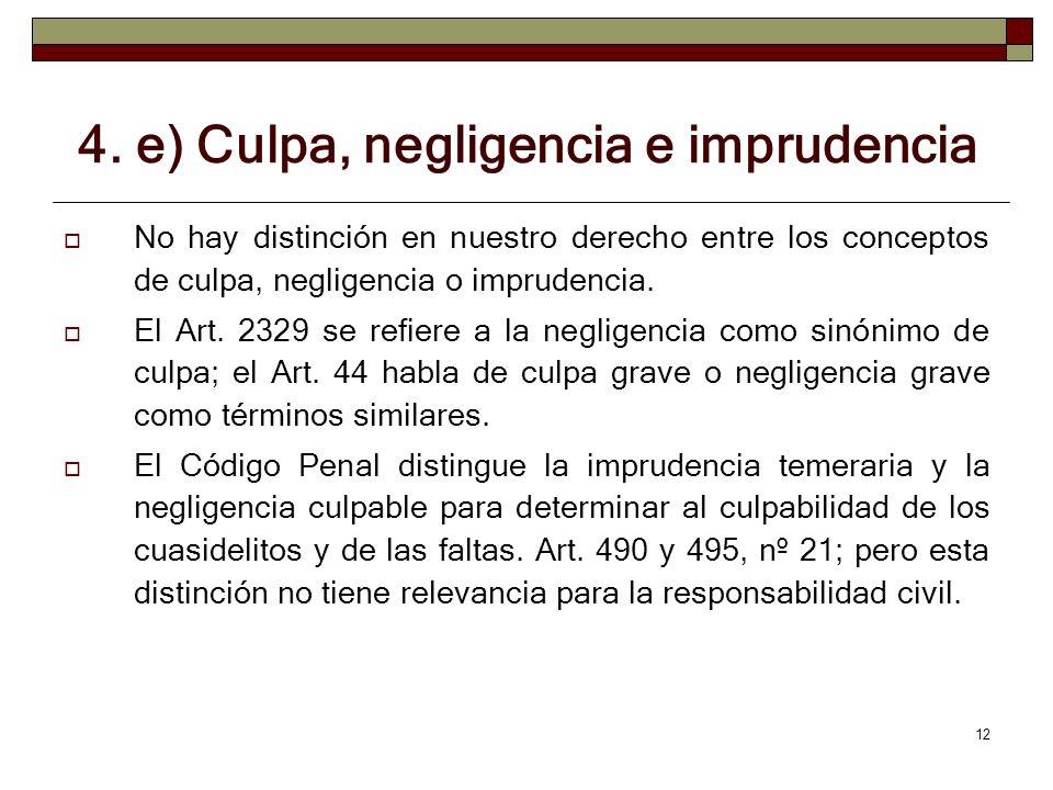 4. e) Culpa, negligencia e imprudencia