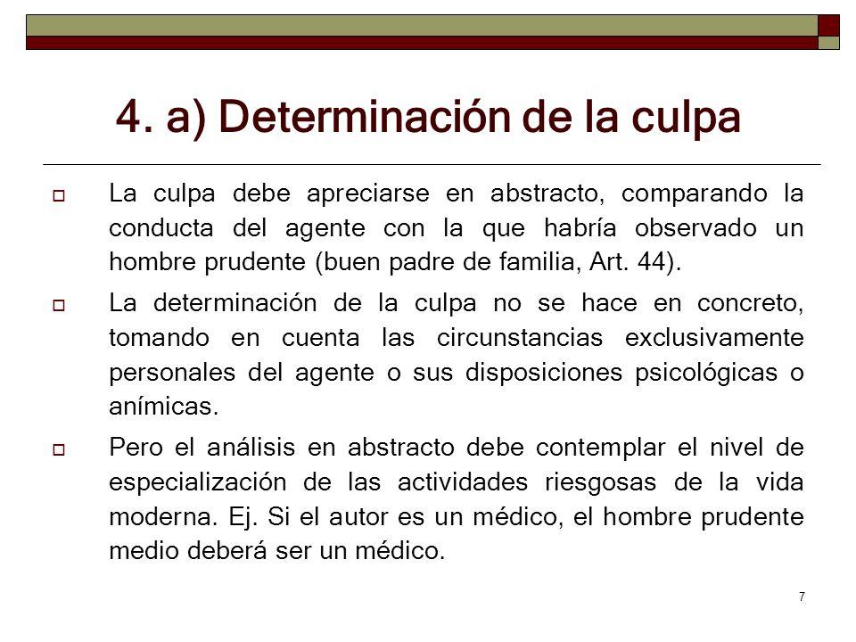 4. a) Determinación de la culpa