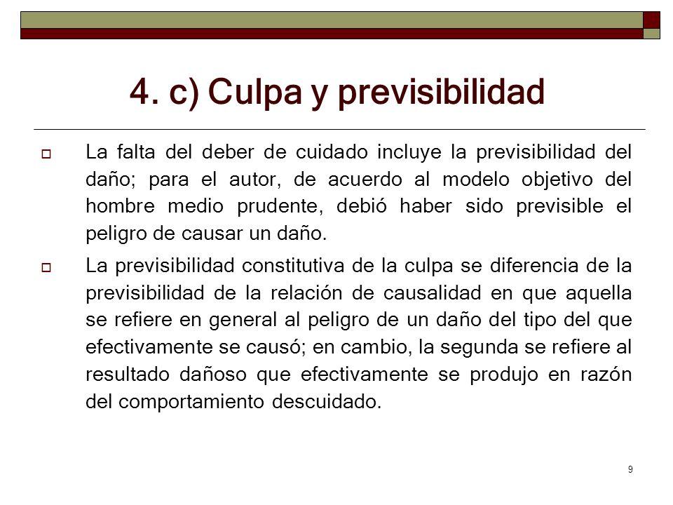 4. c) Culpa y previsibilidad