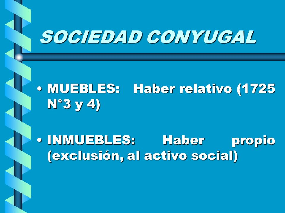 SOCIEDAD CONYUGAL MUEBLES: Haber relativo (1725 N°3 y 4)