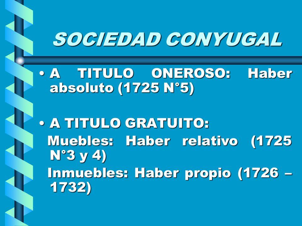 SOCIEDAD CONYUGAL A TITULO ONEROSO: Haber absoluto (1725 N°5)