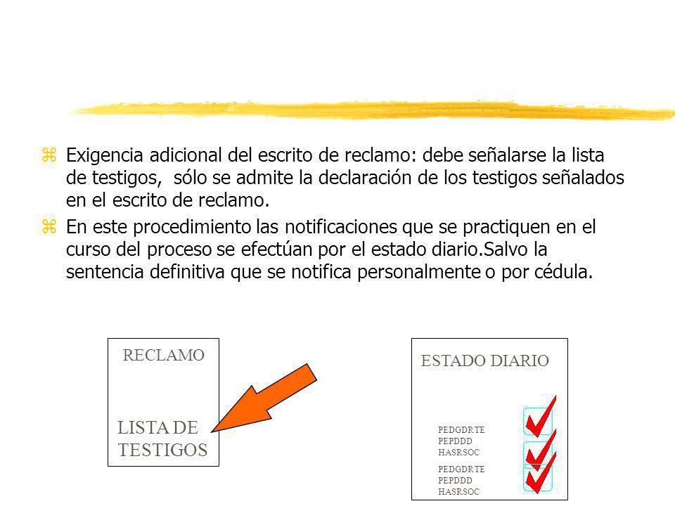 Exigencia adicional del escrito de reclamo: debe señalarse la lista de testigos, sólo se admite la declaración de los testigos señalados en el escrito de reclamo.
