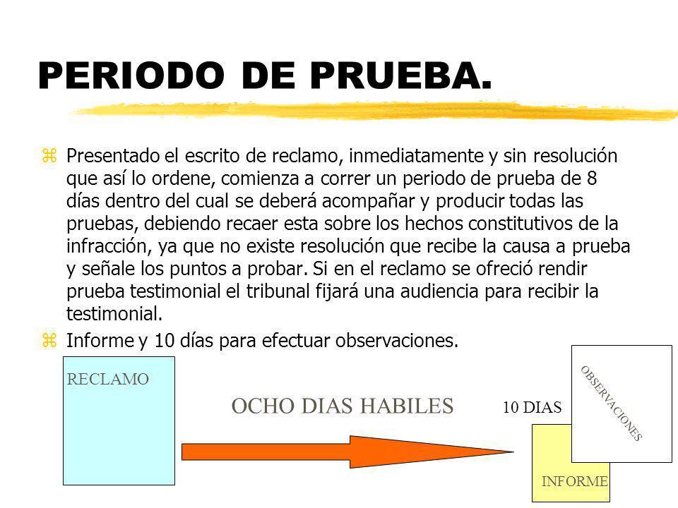 PERIODO DE PRUEBA. OCHO DIAS HABILES